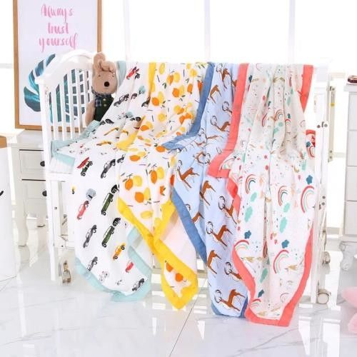Cotton Muslin Baby Blankets Super Soft Breathable For Daycare Nursery